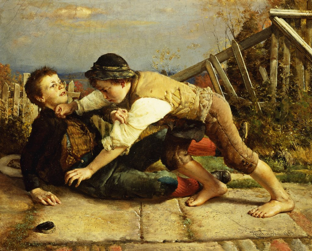 Stock Photo: 866-9447 Boyish Pranks. Karl Witkowski (1860-1910). Oil on canvas. Signed and dated 1885. 55.2 x 68.7cm