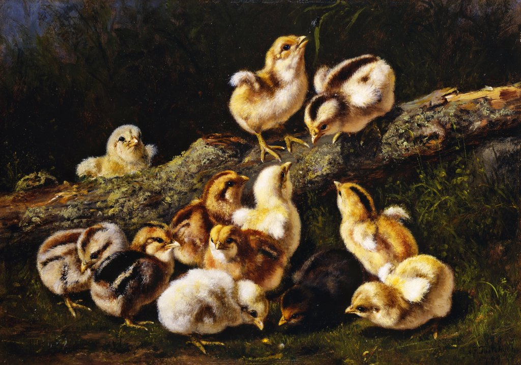Stock Photo: 866-9450 Little Pets. Arthur Fitzwilliam Tait (1819-1905). Oil on panel. Signed and dated 1899. 25.1 x 35.6cm