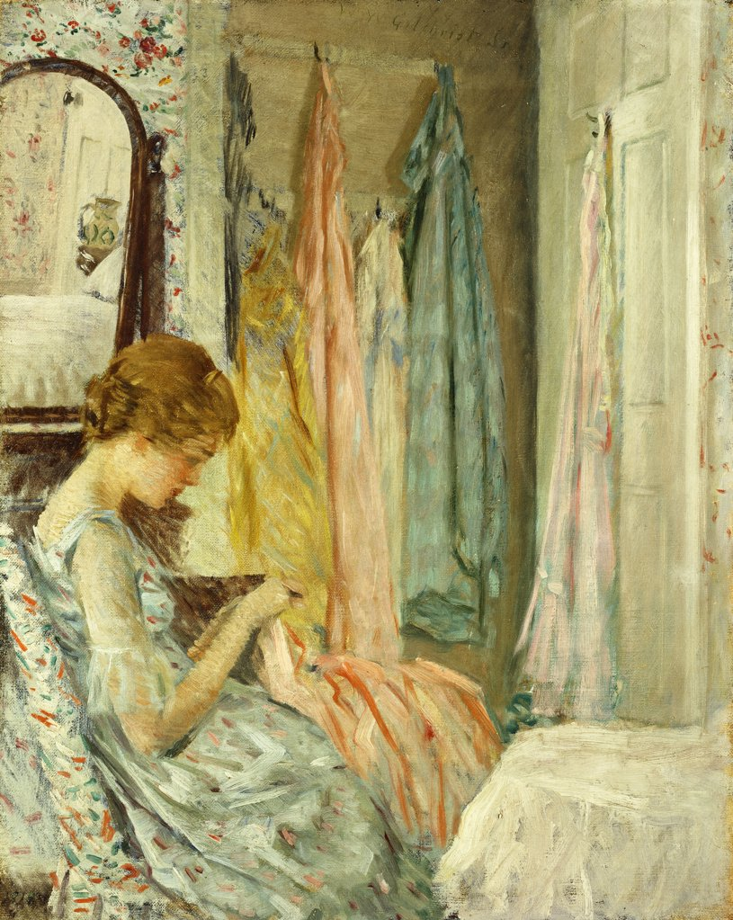 Stock Photo: 866-9470 In her Boudoir. William Wallace Gilchrist (1879-1926). Oil on canvas. Signed and dated 1918. 60.9 x 48.3cm