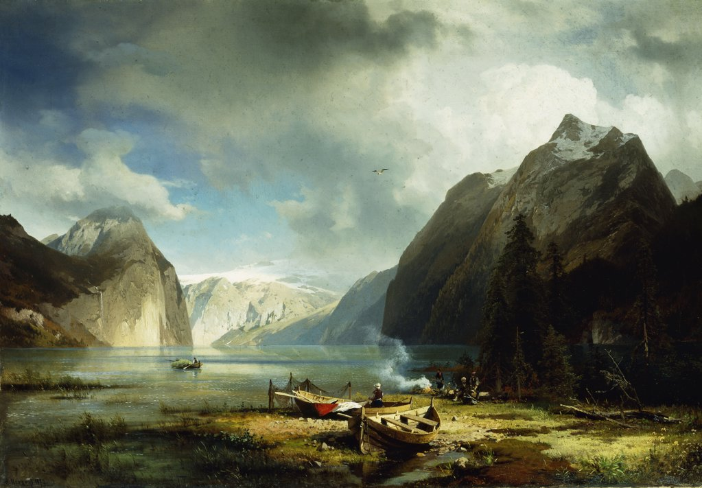 Stock Photo: 866-9474 Nature's Majesty.  Herman Herzog (1831-1932).  Oil on canvas. Signed and dated 1872.  82.5 x 118.32cm
