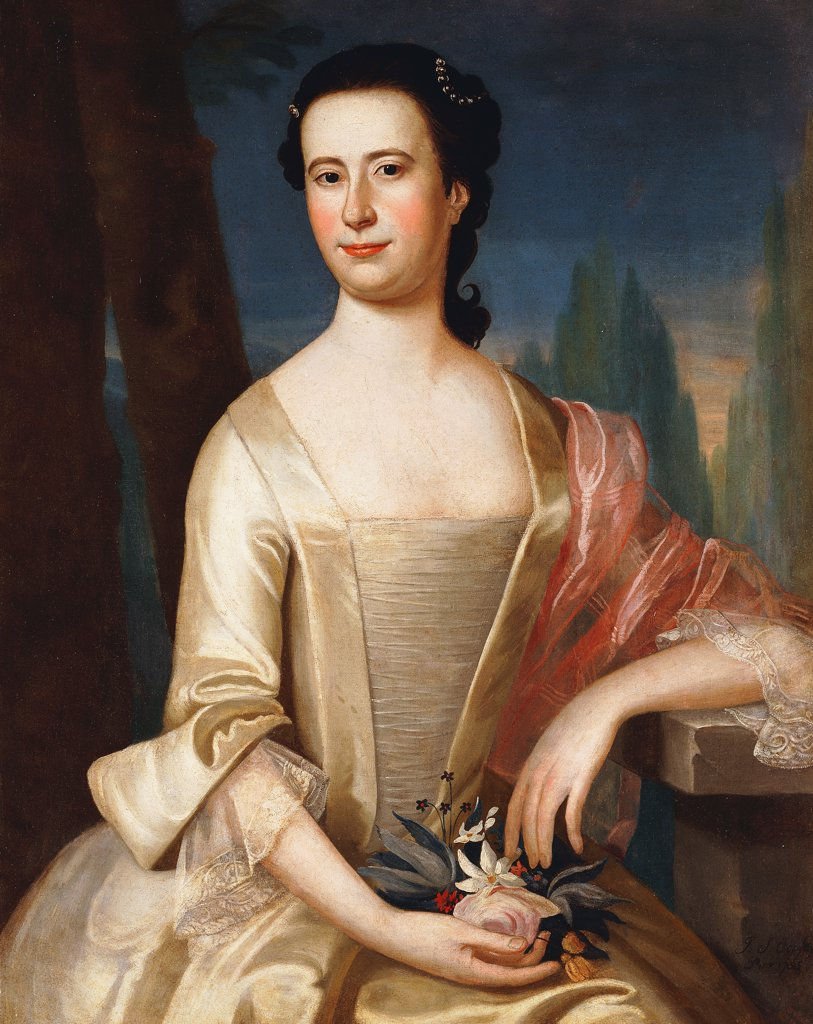 Portrait of a Woman. John Singleton Copley (1758-1815). Oil on canvas. Signed and dated 1755. 88.8 x 71.1cm : Stock Photo