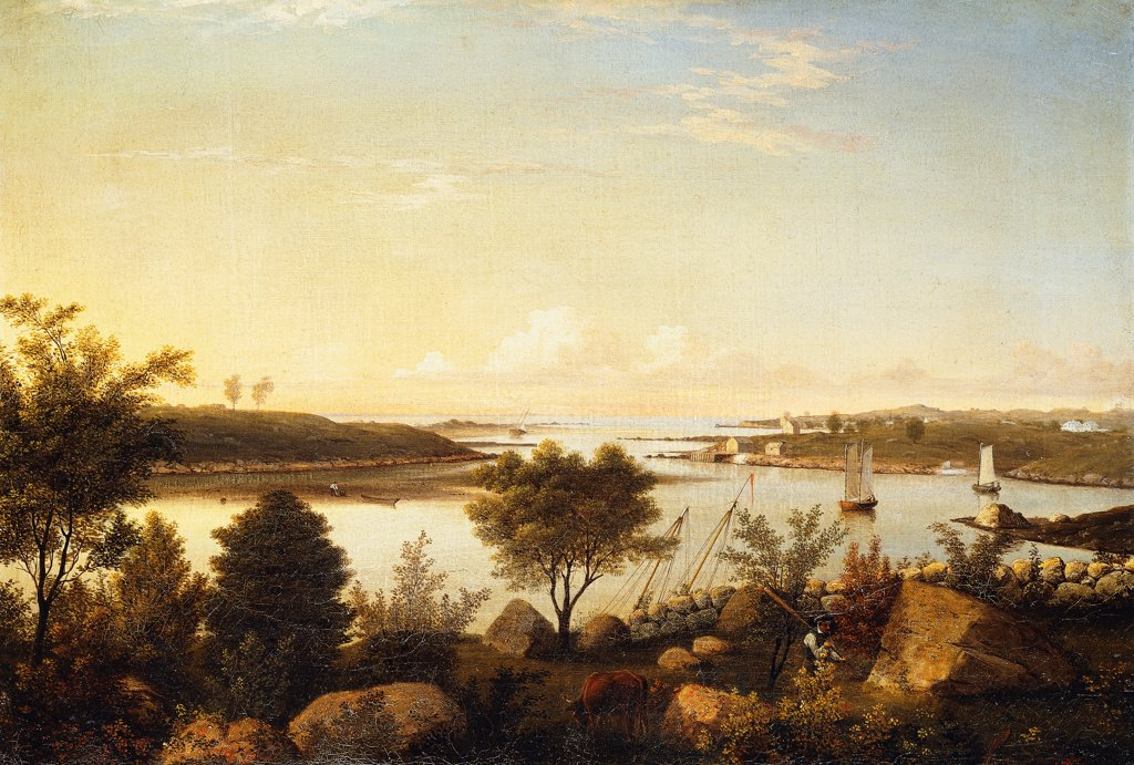 The Annisquam River Looking Toward Ipswich Bay. Fitz Hugh Lane (1804-1865). Oil on canvas. Signed and dated 1848. 47 x 68cm : Stock Photo