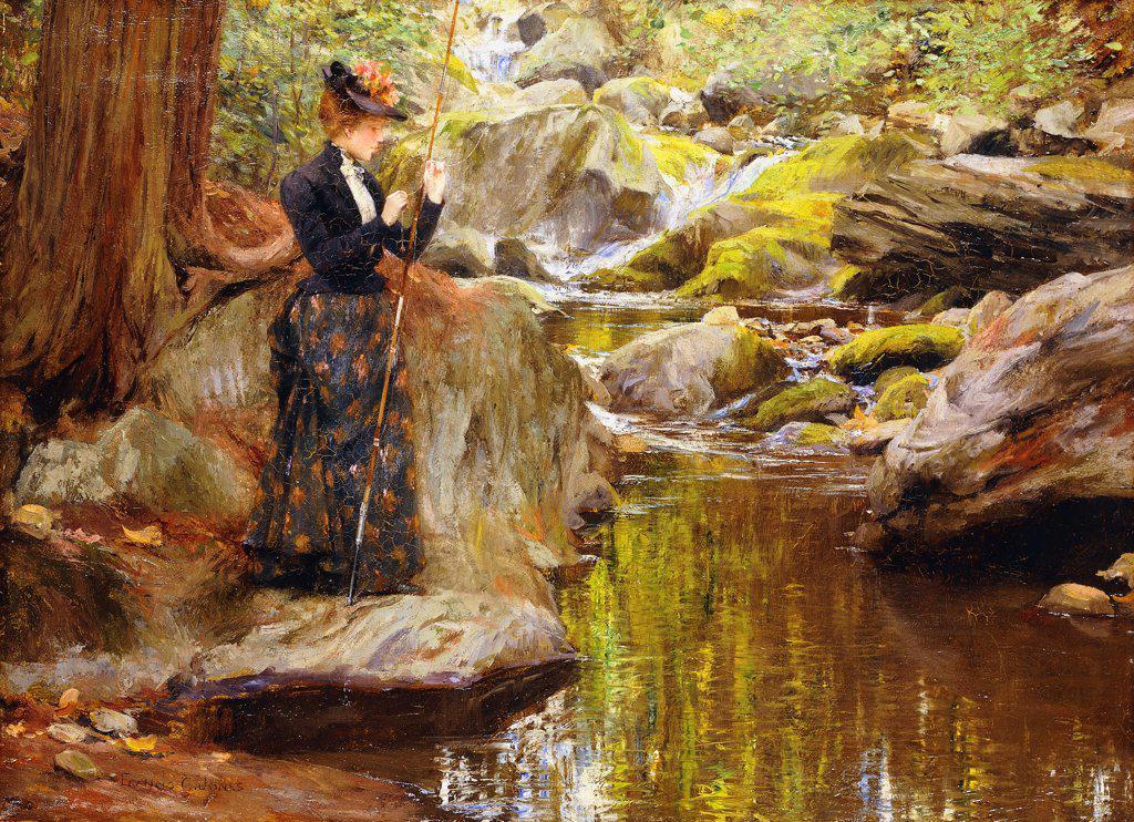 Baiting the Line. Francis Coates Jones (1857-1932). Oil on canvas. 48.2 x 66cm : Stock Photo