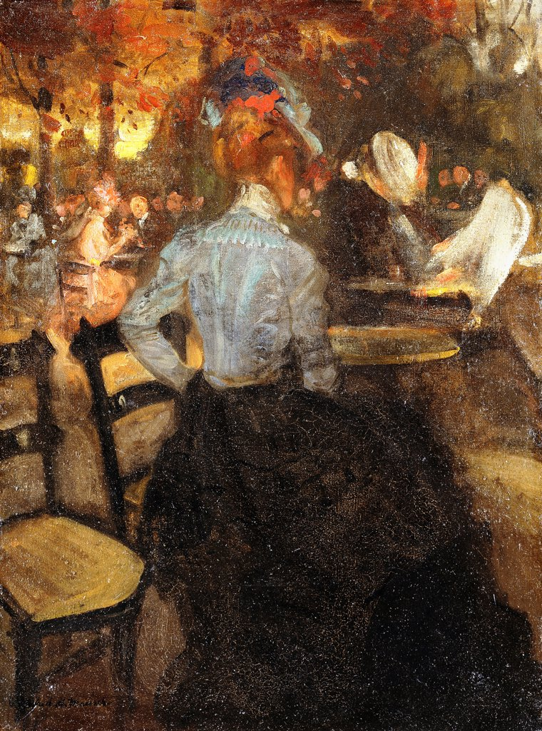 Stock Photo: 866-9506 The Cafe. Alfred Henry Maurer (1868-1932). Oil on canvas. Executed c.1900. 66 x 49.2cm