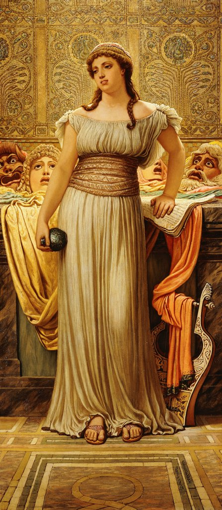 Stock Photo: 866-9509 The Greek Actor's Daughter. Elihu Vedder (1836-1923). Oil on canvas. Signed and dated 1875. 112.4 x 50.8cm.