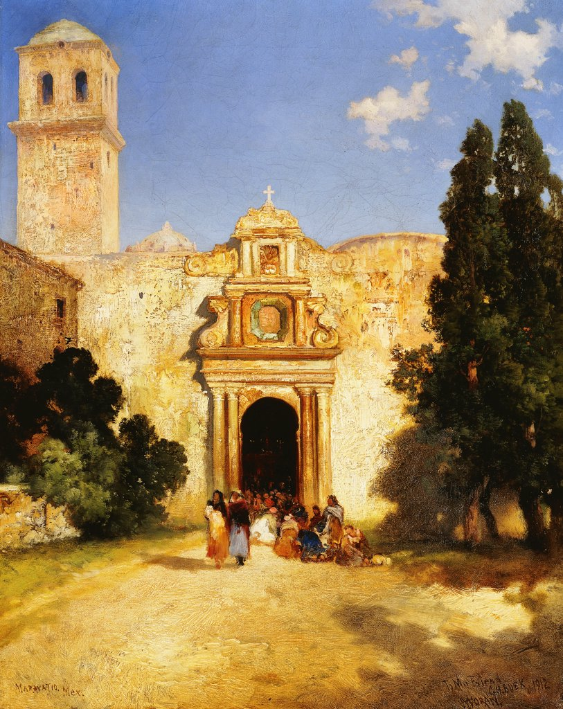 Stock Photo: 866-9511 Maravatio, Mexico. Thomas Moran (1837-1926). Oil on canvas. Signed and dated 1912. 50.8 x 40.6cm