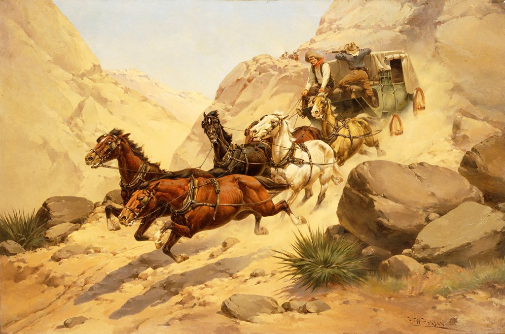 Attack on the Stagecoach. Herman Wendelborg Hansen (1854-1924). Oil on canvas. 81.2 x 121.9cm : Stock Photo
