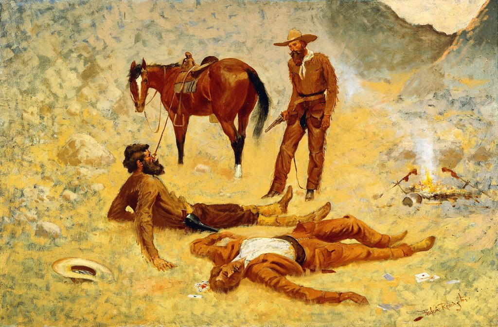 Stock Photo: 866-9518 He Lay Where He Had Been Jerked, Still as a Log.  Frederic Remington (1861-1909). Oil on canvas. 60.9 x 92.1cm