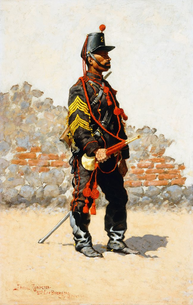 Stock Photo: 866-9519 Bugler of the Cavalry.  Frederic Remington (1861-1909). Oil on canvas laid on panel. 71.1 x 45.7cm. Inscribed 2nd Cav. Barracks, City of Mexico. Published in Harper's New Monthly Magazine, Nov 1889.
