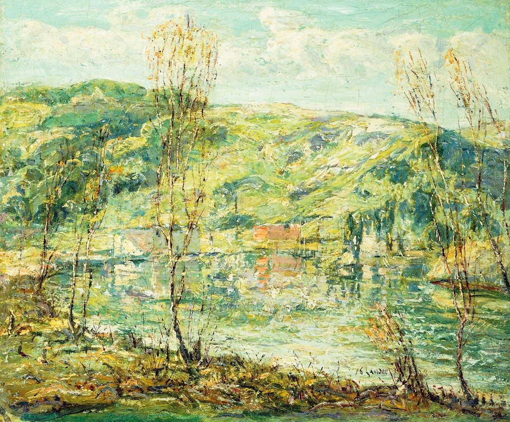 Stock Photo: 866-9521 Lake Reflections. Ernest Lawson (1873-1939).  Oil on canvas. 51.1 x 61.2cm