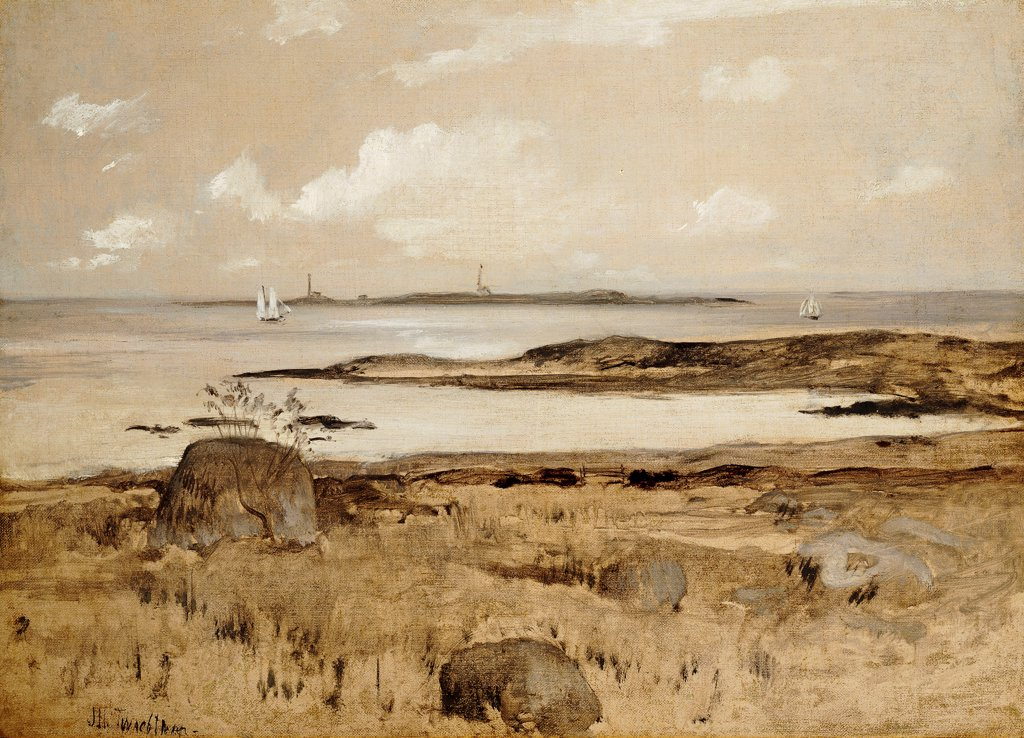 Stock Photo: 866-9523 Gloucester Coast. John Henry Twachtman (1853-1902). Oil On Canvas. 40.6 x 55.8cm