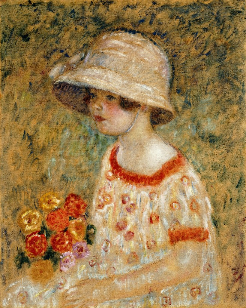 Stock Photo: 866-9530 Portrait of Frances Kilmer. Frederick Carl Frieseke (1874-1939). Oil on canvas. 61 x 48.2cm. The picture depicts the artist's daughter.