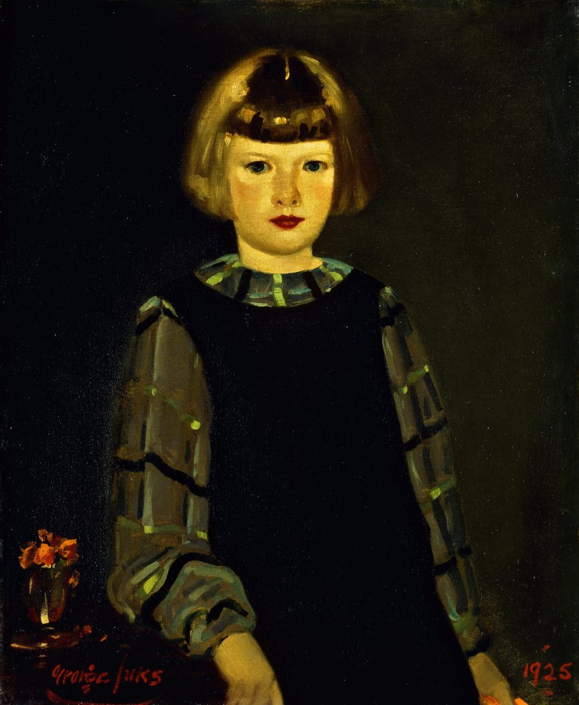 Stock Photo: 866-9544 Portrait of Miss Ruth Breslin.  George Benjamin Luks (1866-1933). Oil on canvas. Signed and dated 1925. 75 x 63.5cm