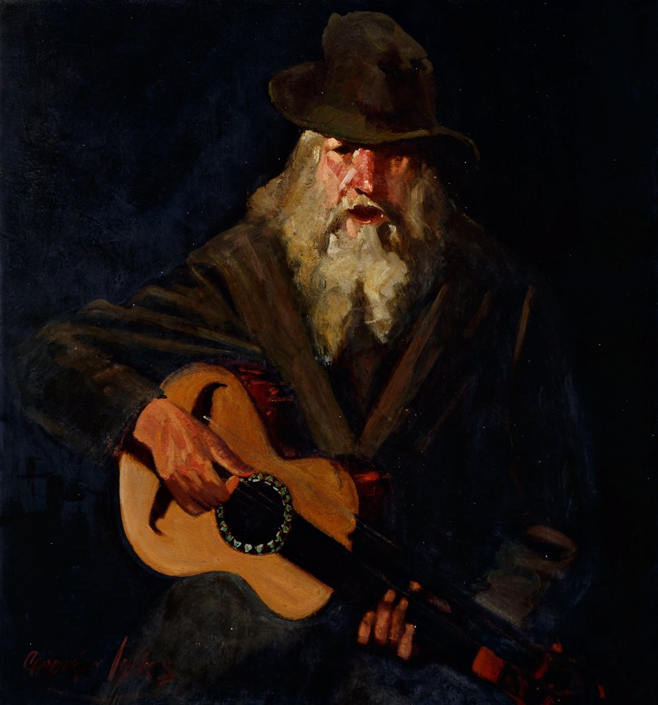 Stock Photo: 866-9545 The Hobo Musician. George Benjamin Luks (1866-1933). Oil on canvas. 95 x 89cm