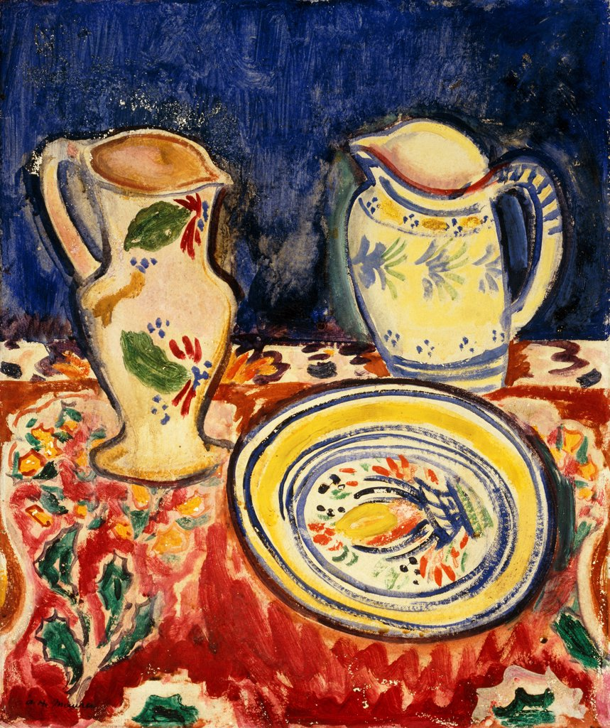 Stock Photo: 866-9548 Still Life with Breton Pottery.  Alfred Henry Maurer (1868-1932). Oil on board. 54.6 x 45.8cm