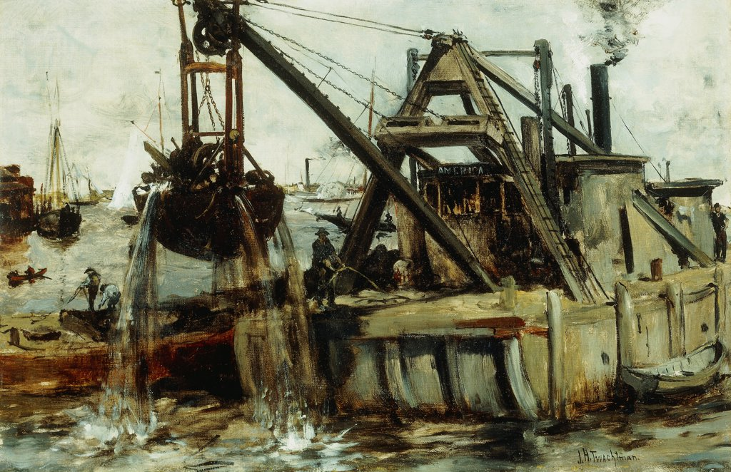 Stock Photo: 866-9563 Dredging in the East River.  John Henry Twachtman (1853-1902). Oil on canvas. 30.4  x 45.4cm