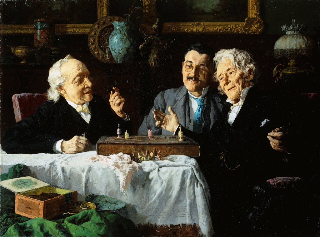 Chess Game. Louis Charles Moeller (1855-1930). Oil on canvas. 45.7 x 61cm : Stock Photo