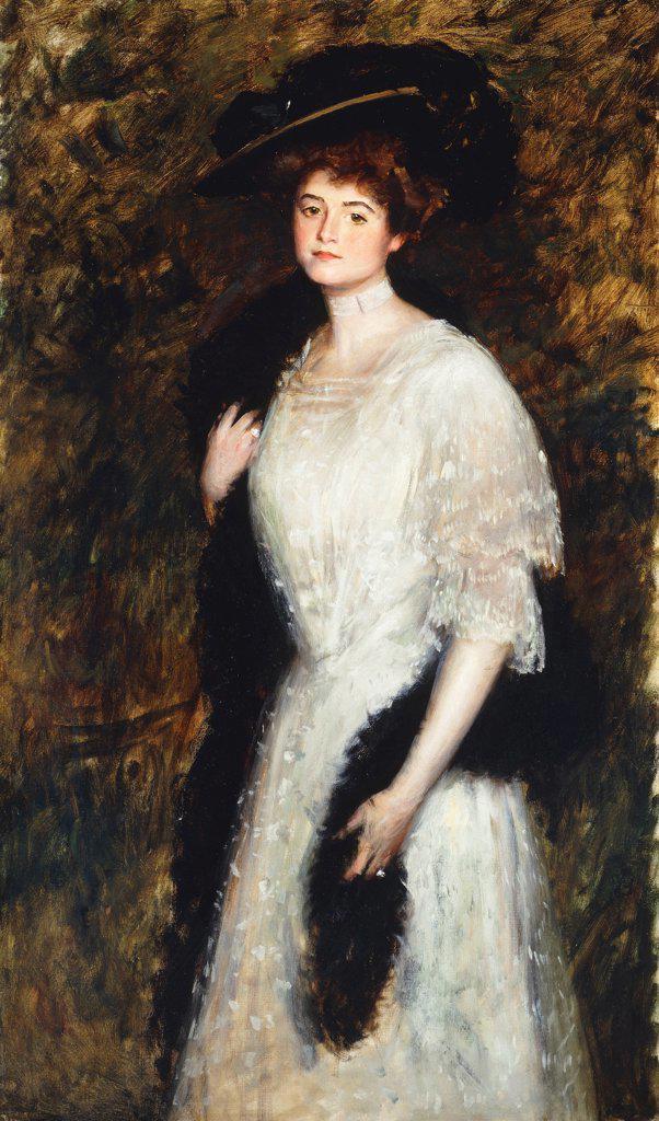 Stock Photo: 866-9579 Mrs. Helen Dixon. William Merritt Chase (1849-1916). Oil on canvas. 152.7 x 91.4cm