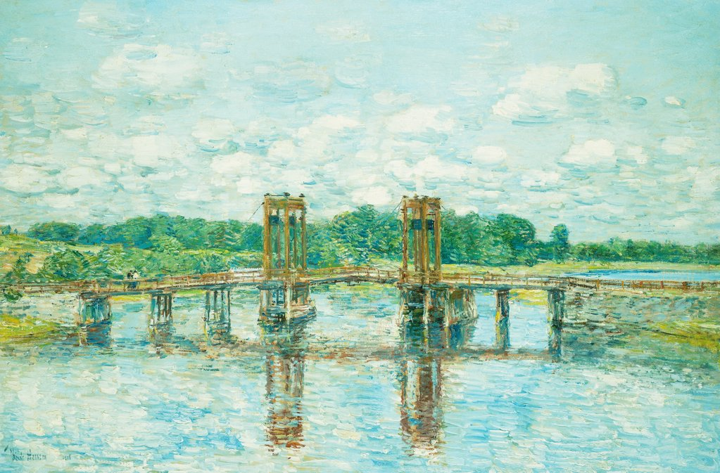 The Toll Bridge, New Hampshire, Near Exeter. Frederick Childe Hassam (1859-1935). Oil on canvas. Signed and dated 1906. 51.1 x 76.4cm : Stock Photo