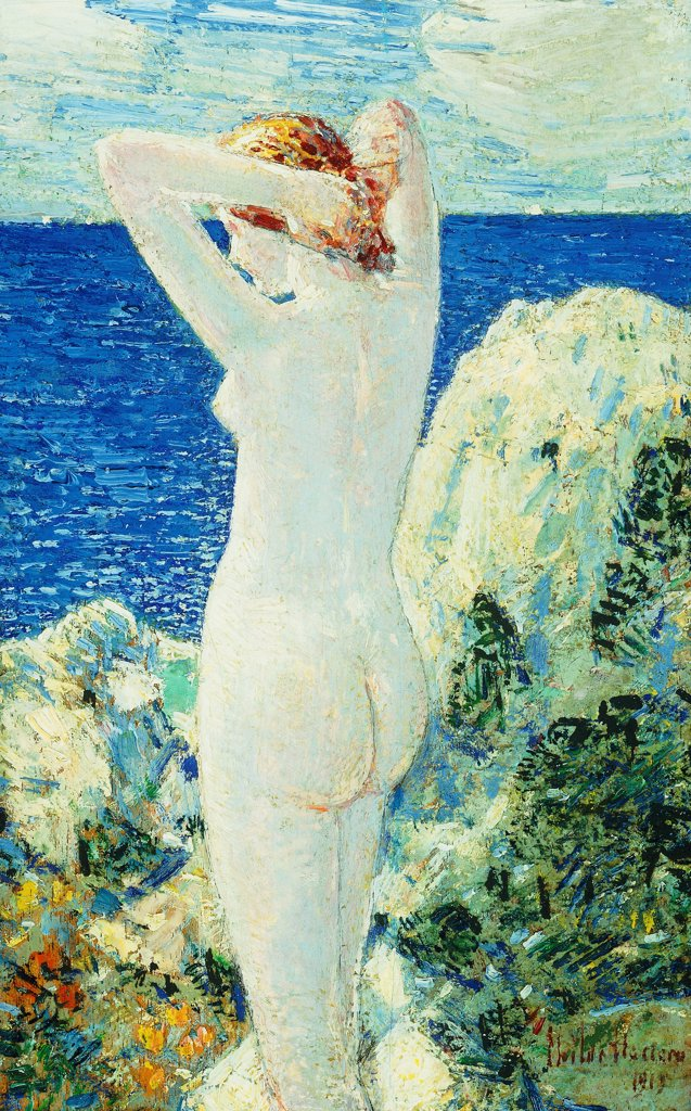 Stock Photo: 866-9585 The Bather. Frederick Childe Hassam (1859-1935).  Oil on panel. Signed and dated 1919. 24.3 x 15.8cm