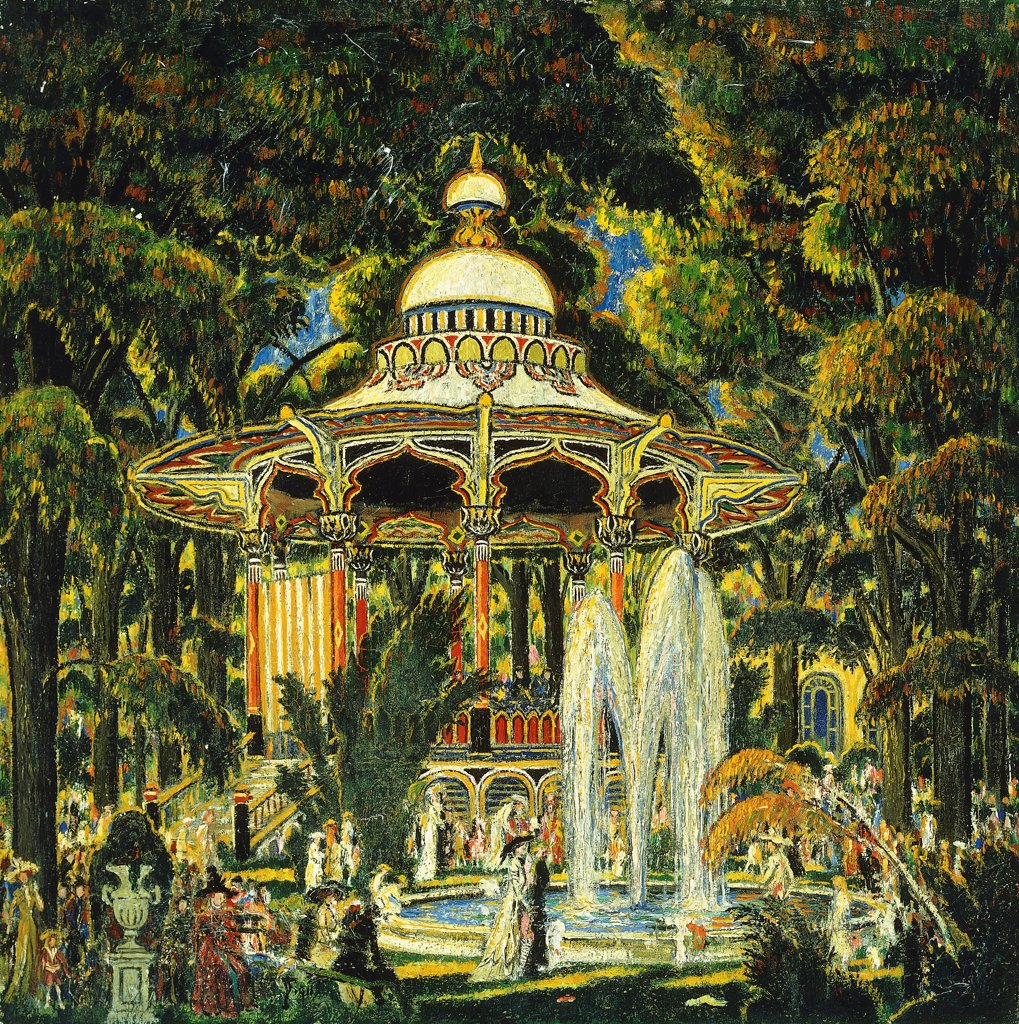 Stock Photo: 866-9589 Gazebo in Central Park. Edward Middleton Manigault (1887-1922). Oil on canvas. 50.8 x 50.8cm