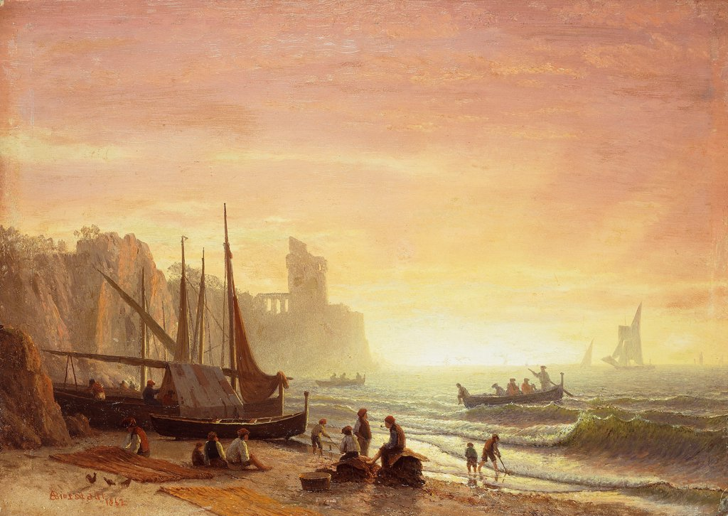 The Fishing Fleet. Albert Bierstadt (1830-1902). Oil on board. Signed and dated 1862. 24.7 x 34.8cm : Stock Photo