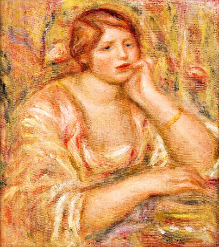 Stock Photo: 866-9600 Woman with Hand to her Face; Femme de Face, Accoudee. Pierre Auguste Renoir (1841-1919). Oil on canvas. Painted in 1919. 50.5 x 45cm.