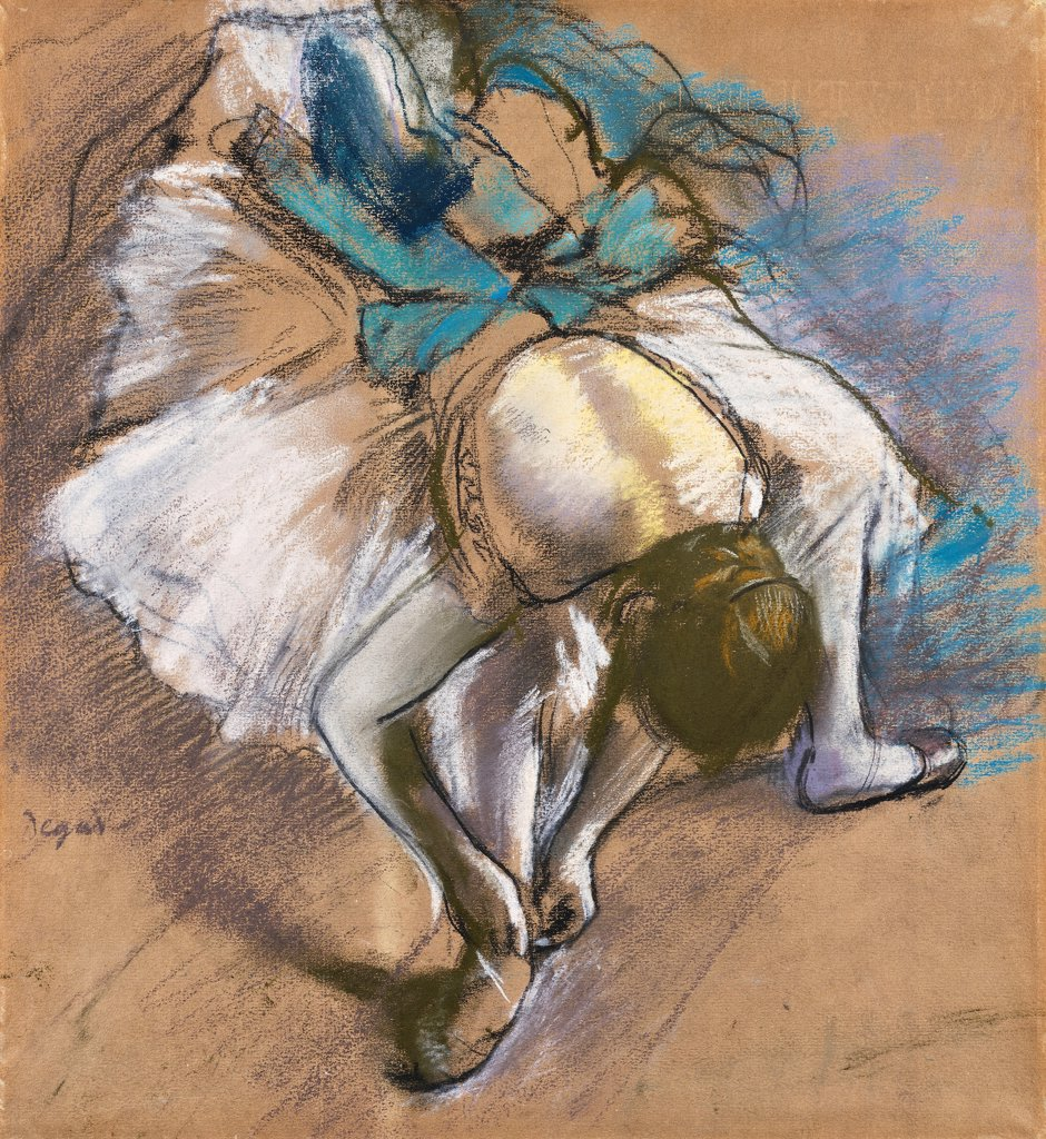 Dancer Putting On Her shoes; Danseuse Attachant Son Chausson. Edgar Degas (1834-1917). Pastel and chalk on buff paper. Painted circa 1880-1885. 47.2 x 43cm : Stock Photo