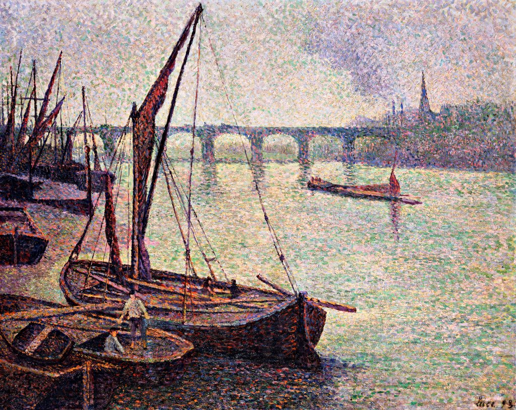 Stock Photo: 866-9611 The Thames at Vauxhall Bridge; La Tamise a Londres, Le Pont Vauxhall. Maximilien Luce (1858-1941). Oil on canvas. Signed and dated 1893. 72.5 x 91.7cm