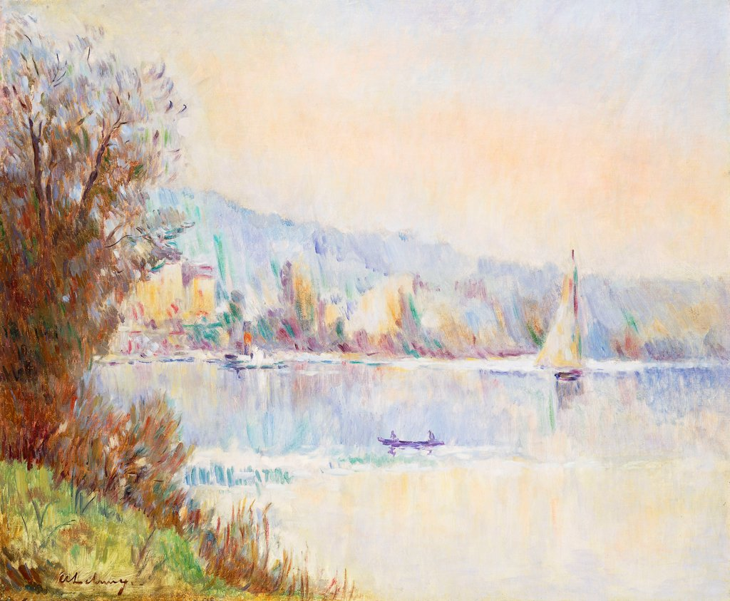 Boats on the Seine; Bateaux sur la Seine. Albert Lebourg (1849-1928). Oil on canvas. 50.5 x 74cm : Stock Photo