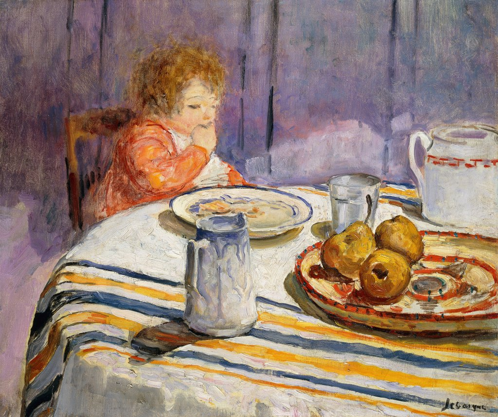 Stock Photo: 866-9619 The Breakfast; Le Petit Dejeuner. Henri Lebasque (1865-1937). Oil on canvas. 50 x 61.5cm