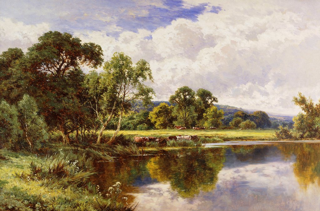 Stock Photo: 866-9623 A Wooded River Landscape with Cattle.  Henry H. Parker (1858-1930). Oil on canvas. 59.6 x 90cm