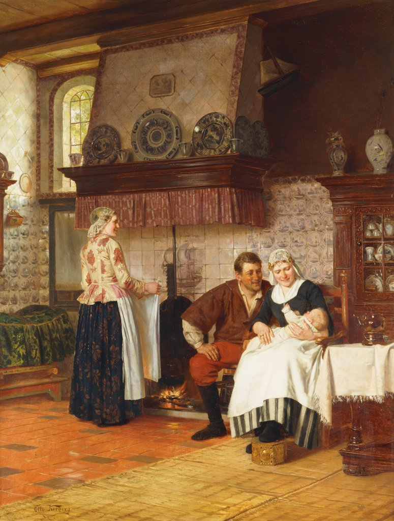 Stock Photo: 866-9626 The Centre of Attraction. Otto Kirberg (1850-1926). Oil on canvas. 89 x 68cm