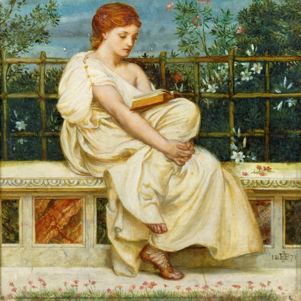 Reading.  Sir Edward John Poynter (1836-1919). Oil on panel. Dated 1871. 20 x 20cm : Stock Photo