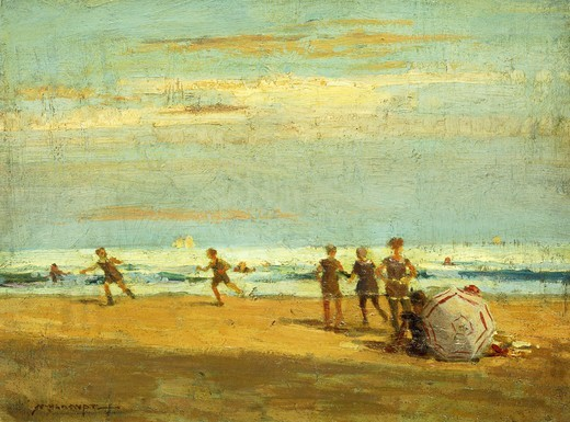 Stock Photo: 866-9757 By the Seaside. Frederick John Mulhaupt (1871-1938). Oil on board. 23 x 30.7cm