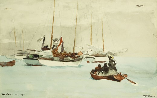 Stock Photo: 866-9800 Schooners at Anchor, Key West. Winslow Homer (1836-1910). Watercolor and pencil on paper. Inscribed Key West and dated 1903. 35.4 x 55.3cm