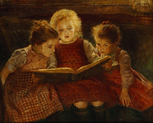 Stock Photo: 866-9840 A Good Book. Walter Firle (1859-1929). Oil on board. 49.5 x 63.5cm