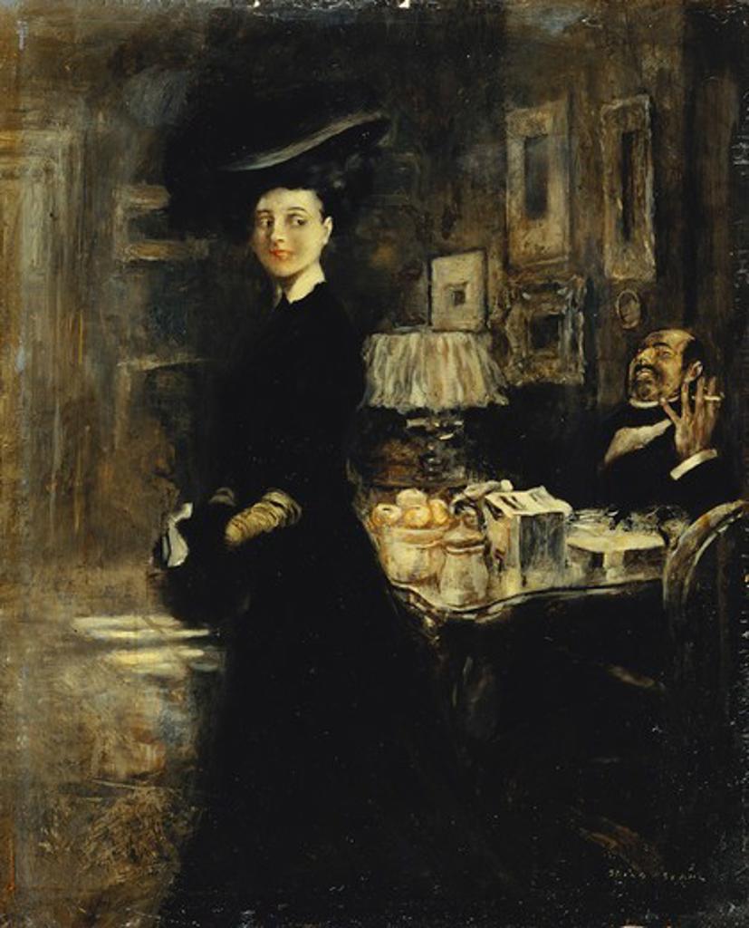 The Shared Joke. Friedrich Stahl (1863-1940). Oil on board. 22 x 17.8cm : Stock Photo
