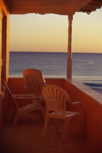 Front porch of a house, Panama City, Florida, USA : Stock Photo
