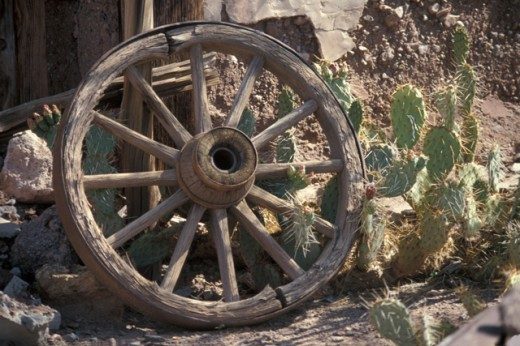 Stock Photo: 867R-1585 Wooden wagon wheel in front of a cactus