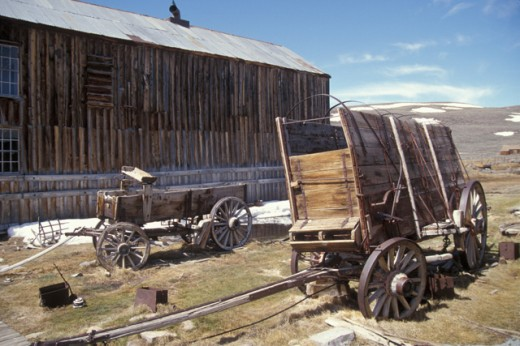 Old wooden wagons : Stock Photo