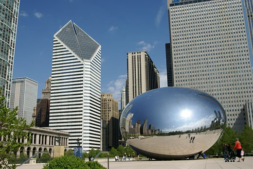 Stock Photo: 868-283 Low angle view of a sculpture and skyscrapers, Cloud Gate, Millennium Park, Chicago, Illinois, USA