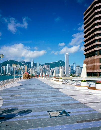 Walkway in a city, Hong Kong, China : Stock Photo