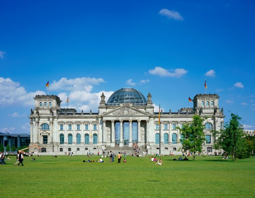 Facade of a government building, Reichstag, Berlin, Germany : Stock Photo