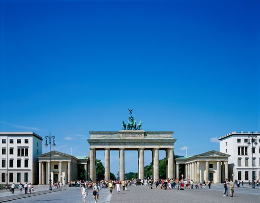 Facade of a memorial gate, Brandenburg Gate, Berlin, Germany : Stock Photo