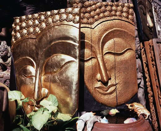 Close-up of two carvings of Buddha, Bangkok, Thailand : Stock Photo