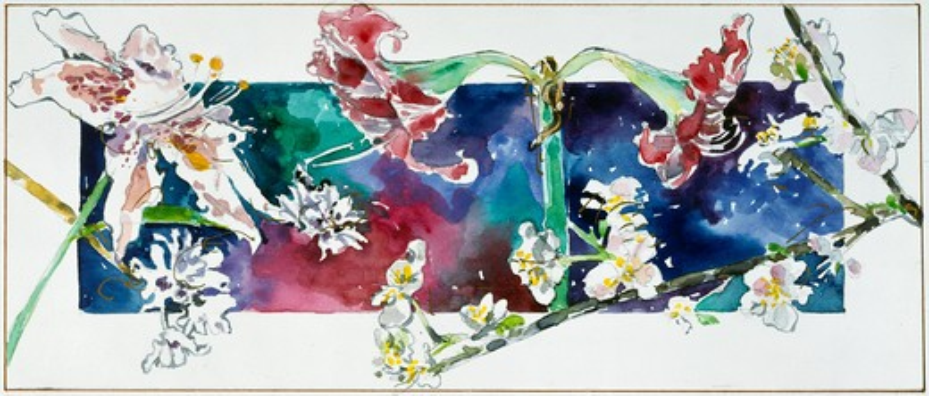 Flower Study I by John Bunker, watercolor, 1992 : Stock Photo
