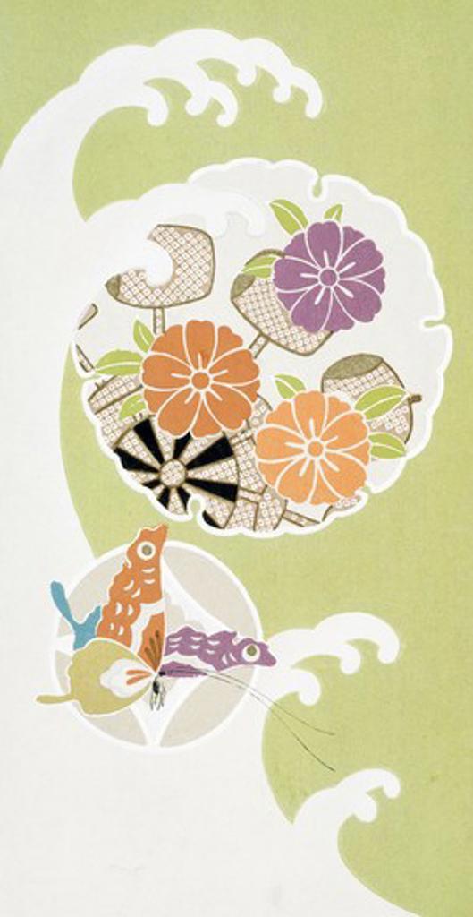 Stock Photo: 875-3070 Design for Fabric John Bunker (20th C. American) Watercolor