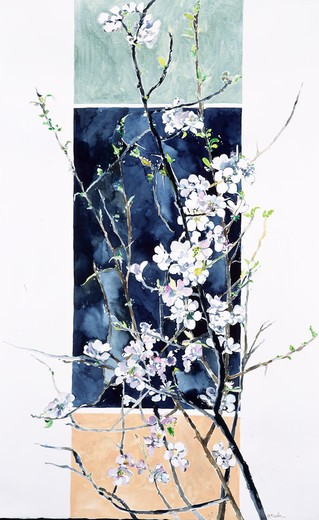 Plum Blossoms and Scroll 1994 John Bunker (20th C. American) Watercolor : Stock Photo