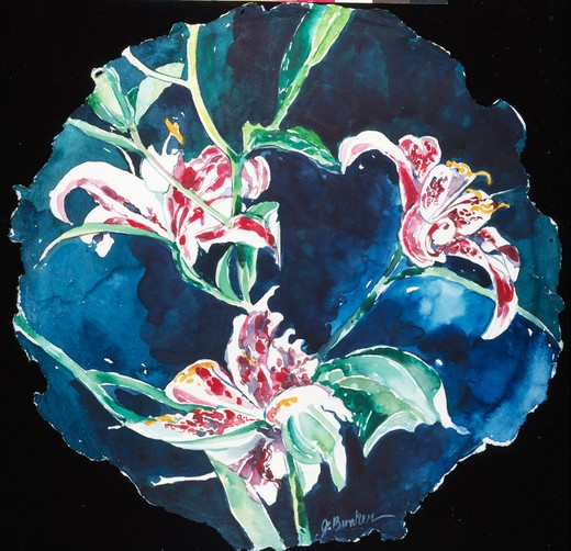 Stock Photo: 875-3149 Rubrum Lily Tondo by John Bunker, watercolor, 1995, 20th Century, Private Collection
